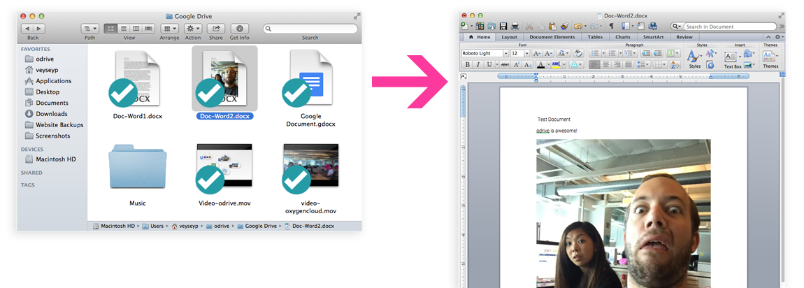 Double-clicking a Word document opens it directly in Microsoft Word ready to edit.