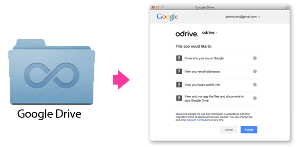 odrive authenticates directly against your Google account. odrive never see's or stores any passwords or files. Communication happens directly between the odrive desktop client and your Google storage.