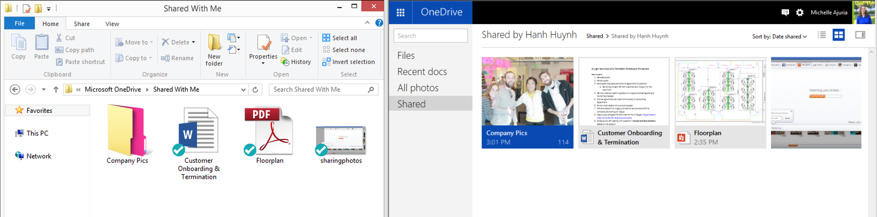 odrive mirrors all of your files, even the ones shared with you, within OneDrive.