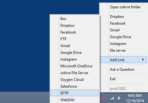 "To link SFTP to odrive, just click on the odrive icon in your tray menu, select ""Add Link""."