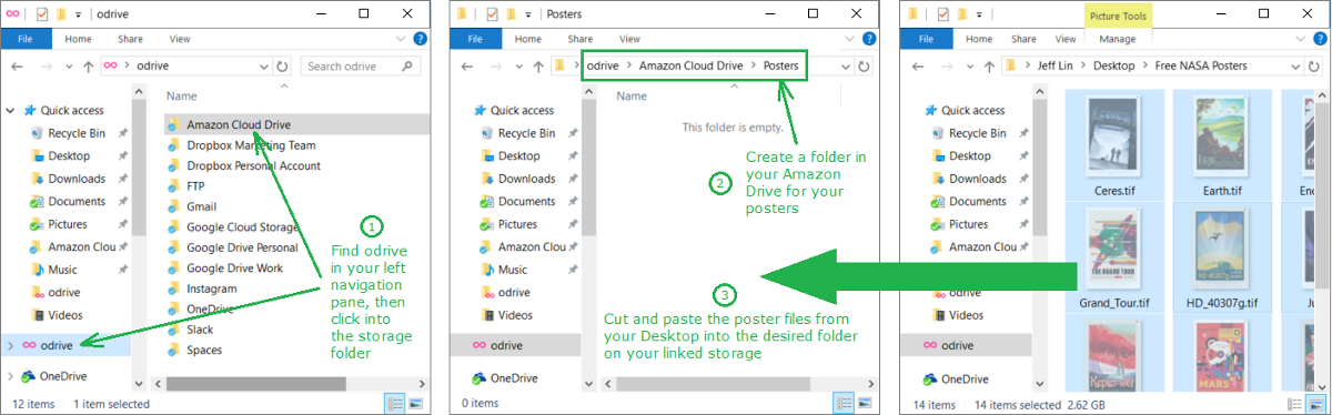 Move your files into your linked storage through the odrive folder. They will now synchronize automatically with your cloud storage.