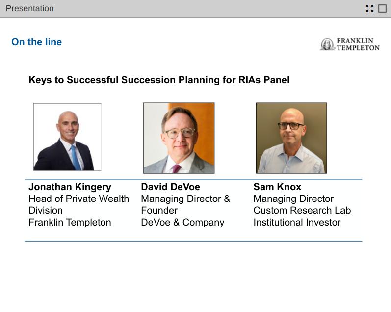 David DeVoe Presents on Franklin Templeton Webinar:   Keys to Successful Succession Planning for RIAs