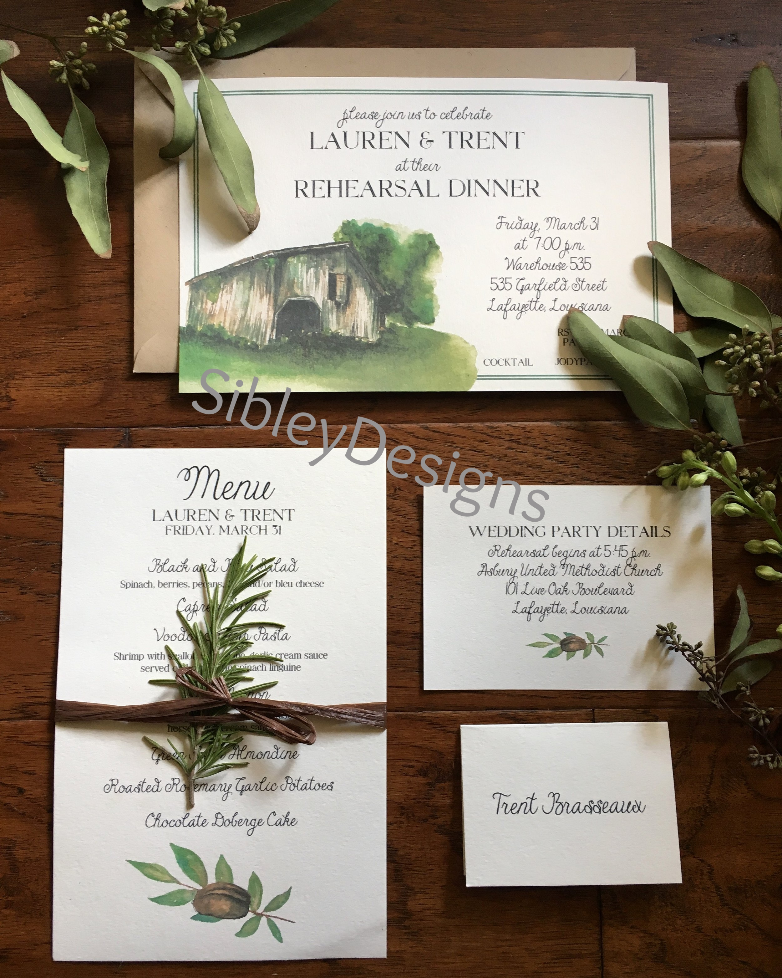 Lauren's Rehearsal Dinner invitation, menu