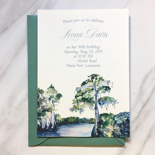 "So thrilled to share this sweet invitation and commission for a lady who turned 90 years young last week. She was described to me as a ""bayou girl,"" and we landed on a cypress scene for her party invitations. For her gift, an ""age progression portrait."" She was, and is, simply beautiful! 🍃"