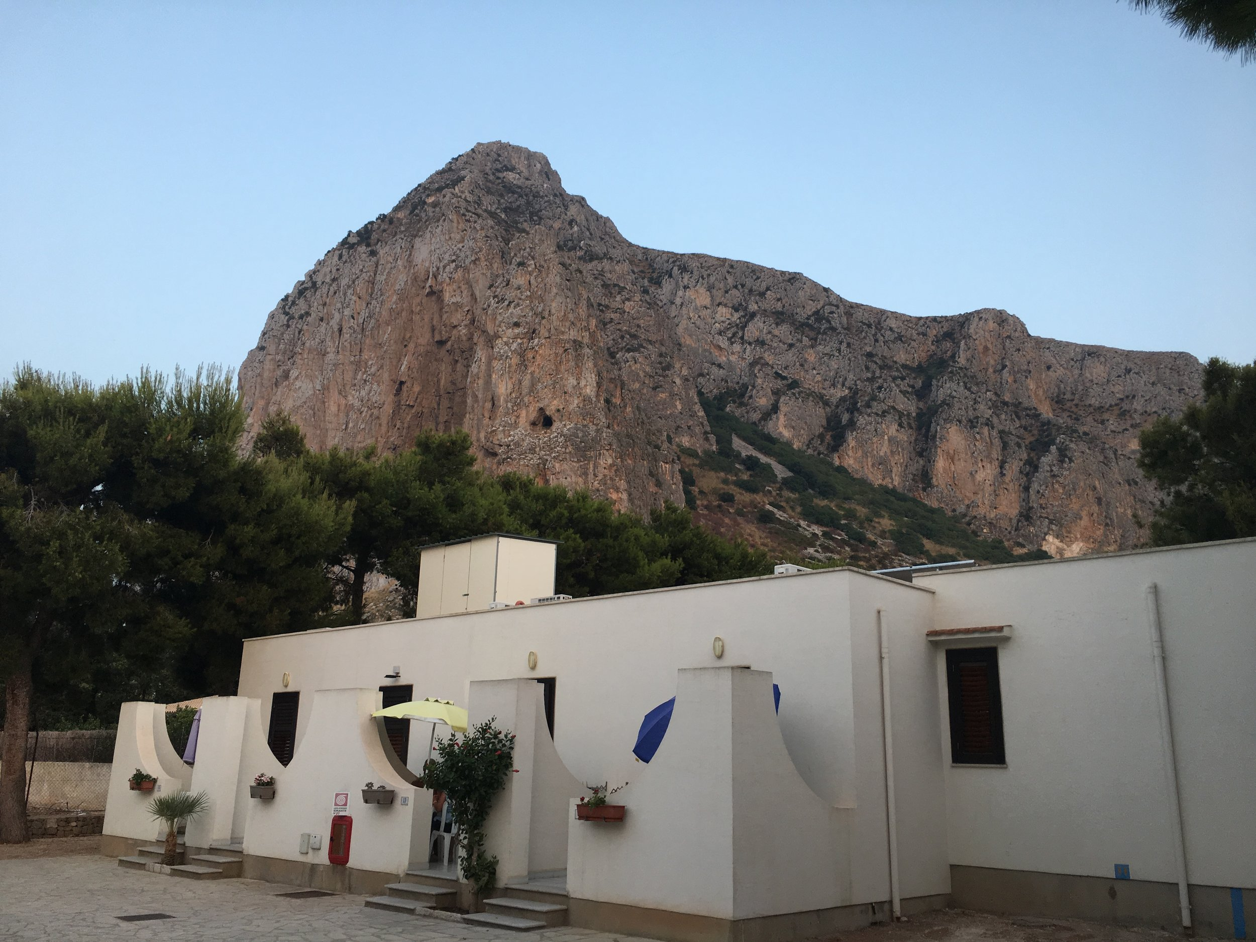 View from our terrace at  Camping La Pineta , San Vito Lo Capo. The early evening light was breathtaking.