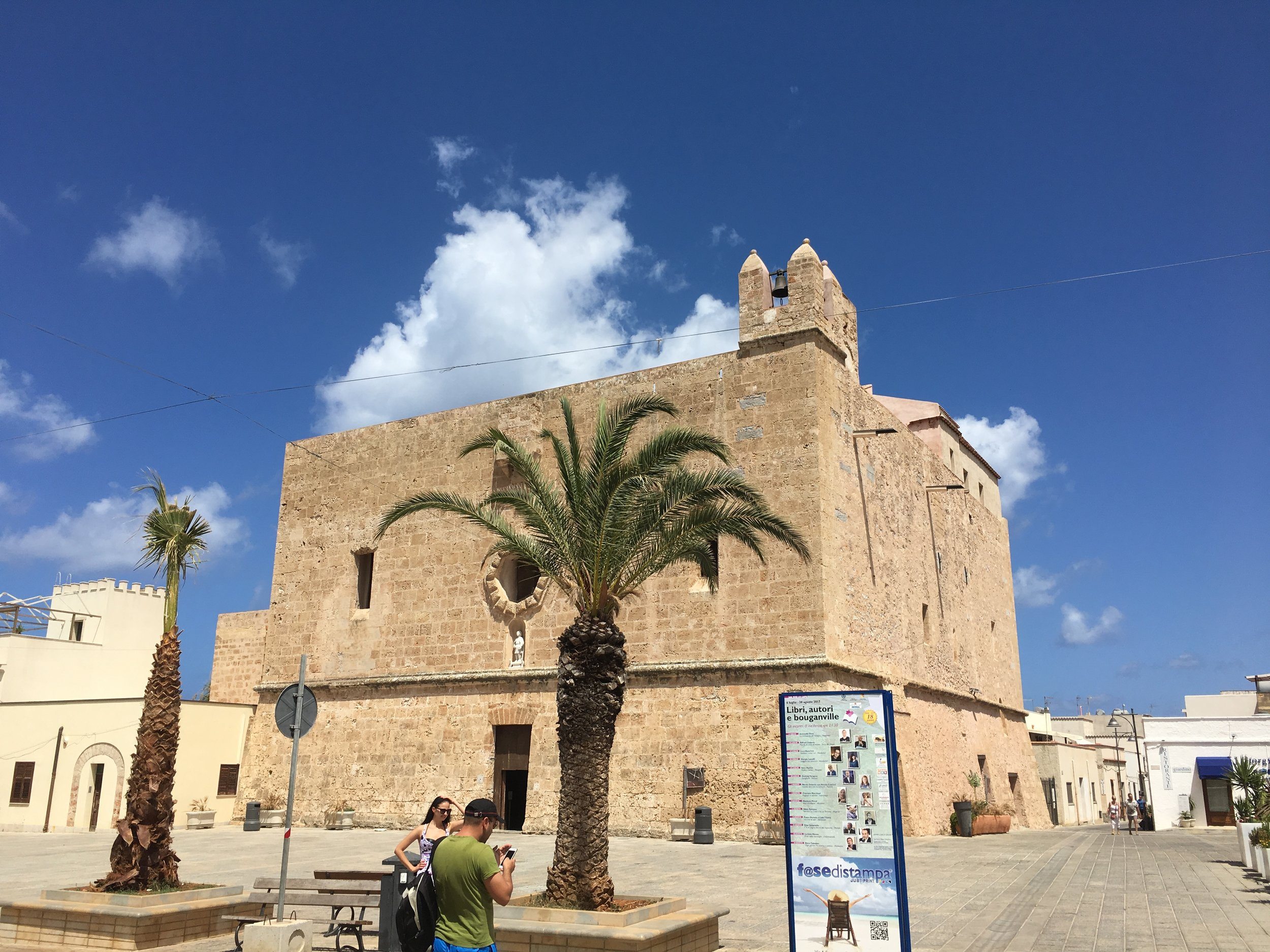 Town centre and church, San Vito Lo Capo. We rented bikes with kid seats on the back to get around.
