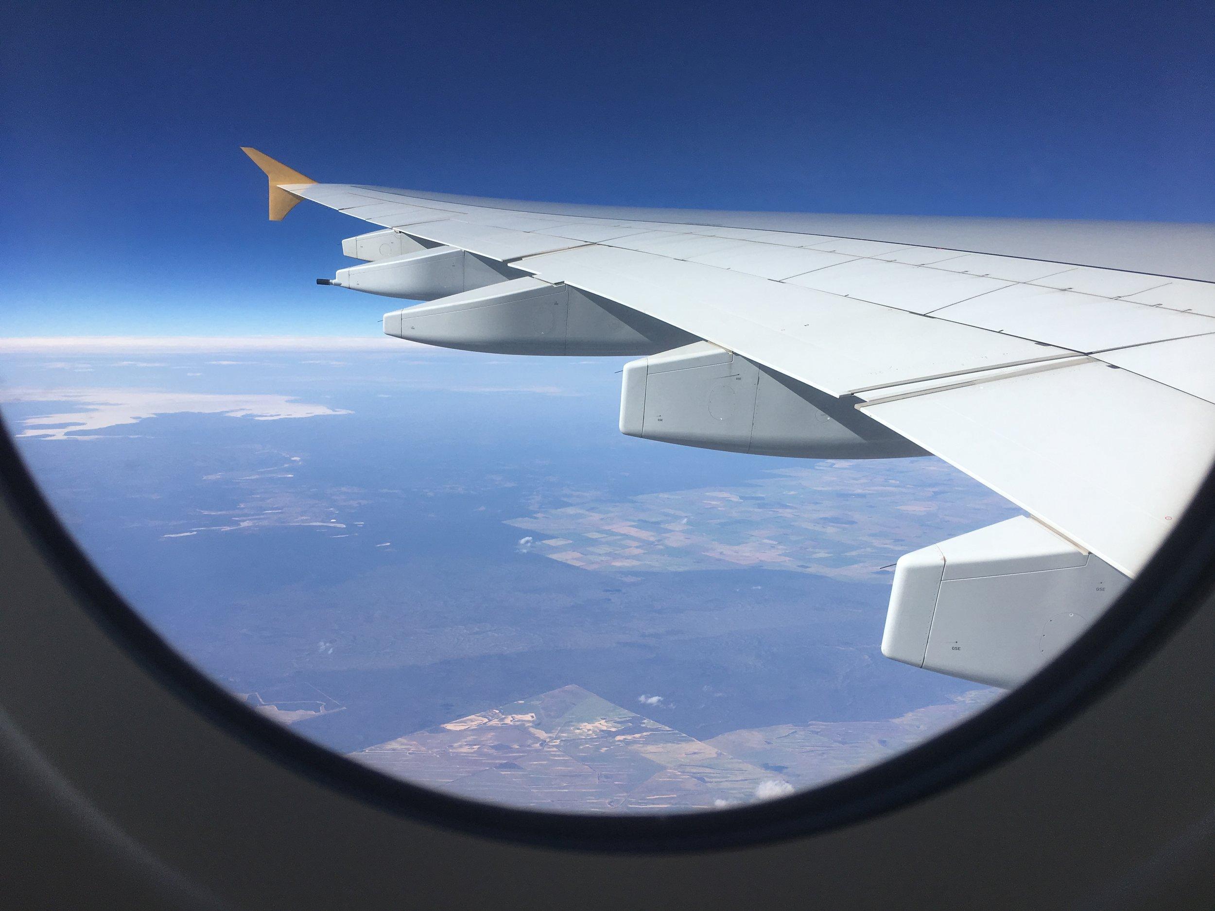 Flying over Australian soil.