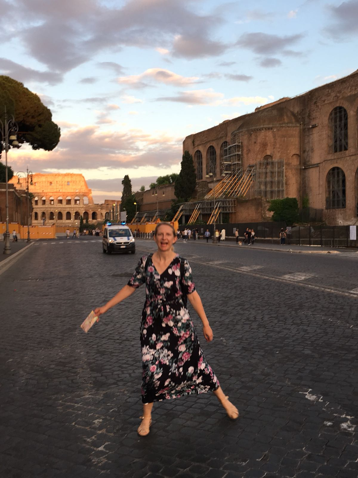 Genuine attempt at frolicking in an empty Roman street. Went for Cindy Crawford, came up  Celeste . If you don't know Celeste, do yourself a favour and click the link. Photo cred: Ez.