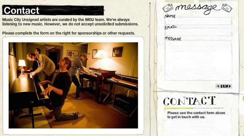Contact Page from Music City Unsigned. Simple, Informal, and intriguing.