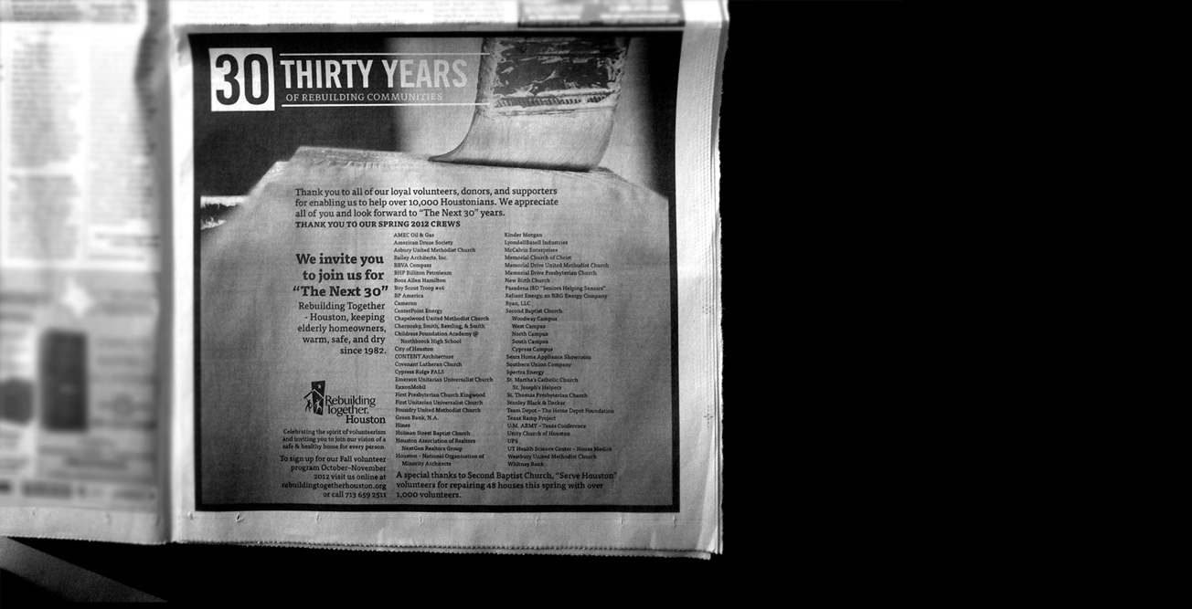 Print: Poster, Ads, etc. for Rebuilding Together Houston