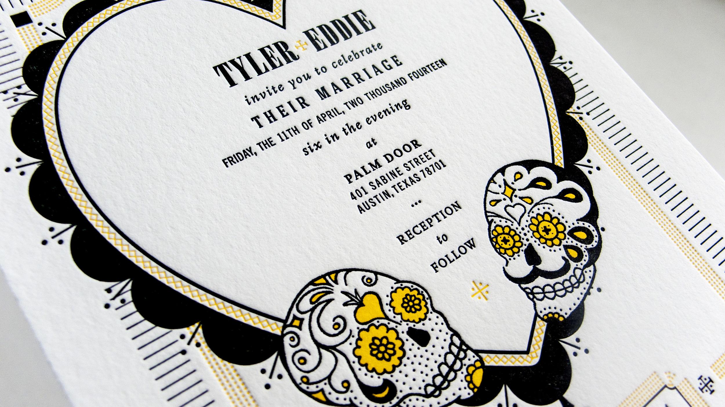 HONORABLE MENTIONED  EPHEMERA:  TYLER & EDDIE'S WEDDING INVITE
