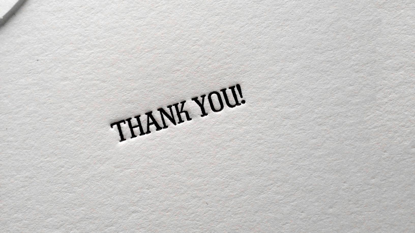 EPHEMERA: THANK YOU NOTE