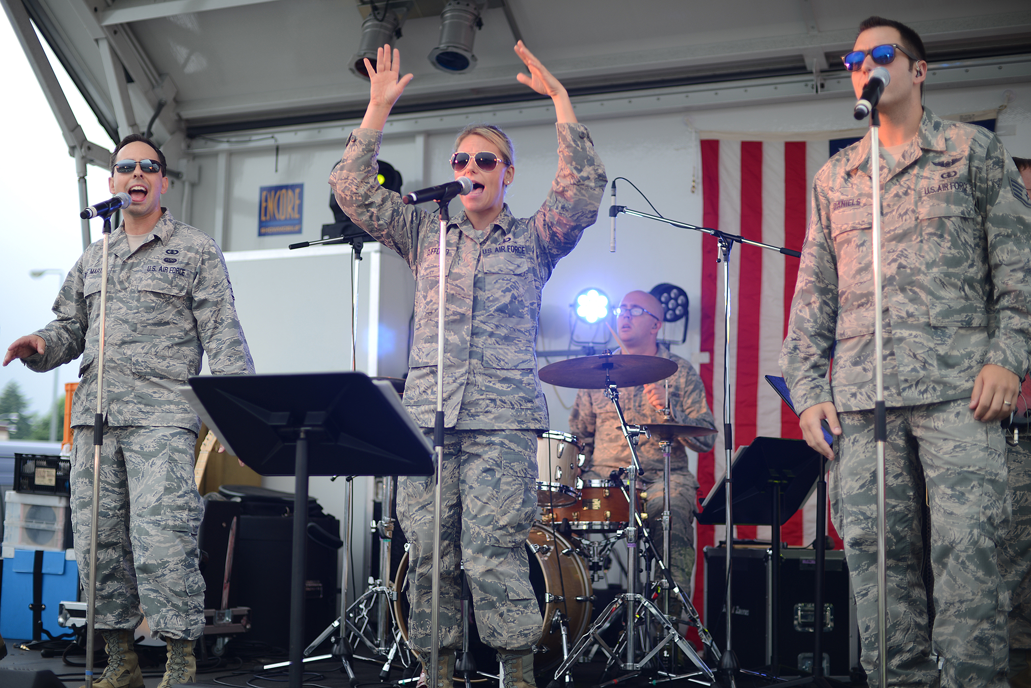 The Band of the Pacific-Hawaii music group, 'Hana Hou!', performs during the Celebrate America event at Yokota Air Base, Japan, July 2, 2015. The group played both English and Japanese songs, honoring the host nation's contributions toward this Independence Day event. (U.S. Air Force photo by Airman 1st Class David C. Danford/Released)