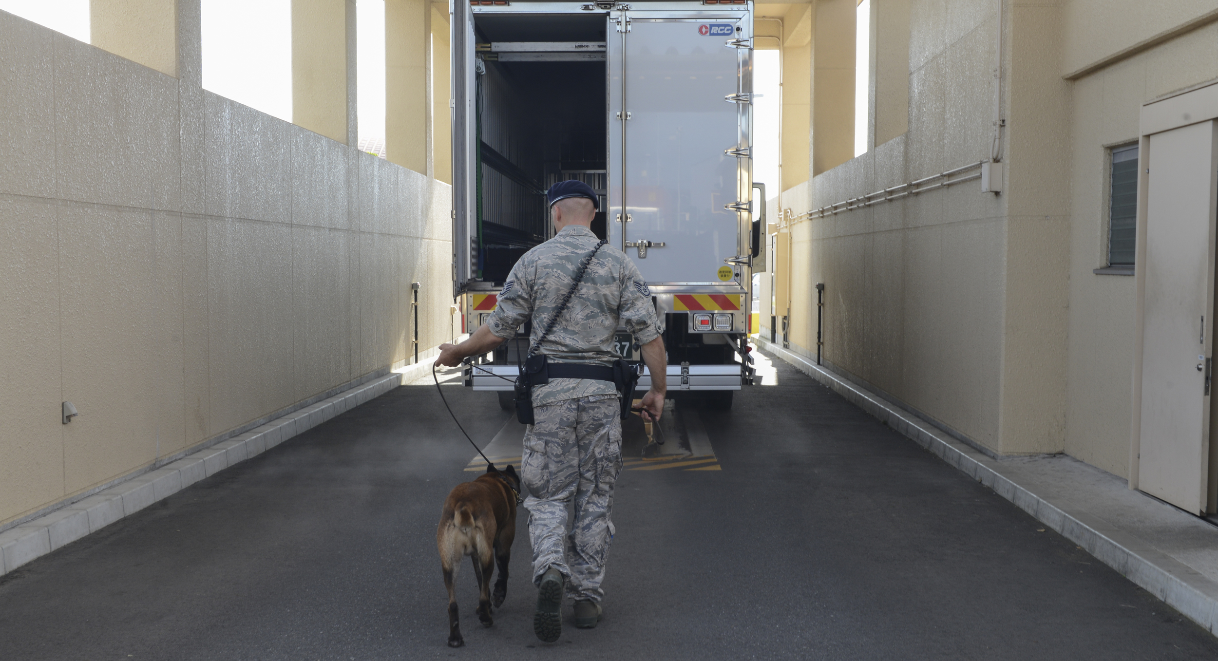 Staff Sgt. Nicholas Galbraith, 374th Security Forces Squadron military working dog handler, and Topa, 374 SFS MWD, perform security checks at Yokota Air Base, Japan, July 24, 2015. The dogs are trained to detect chemicals used in explosive devices and illegal substances. (U.S. Air Force photo by Airman 1st Class David C. Danford/Released)
