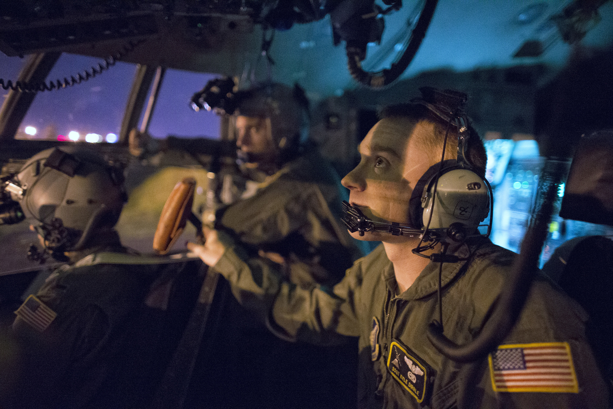 Staff Sgt. Kyle Dibble, 36th Airlift Squadron flight engineer, performs pre-flight inspection at Yokota Air Base, Japan, Oct. 14, 2015, during a training mission. Yokota aircrews regularly conduct night flying operations to ensure they're prepared to respond to a variety of contingencies throughout the Indo-Asia Pacific region. (U.S. Air Force photo by Osakabe Yasuo/Released)