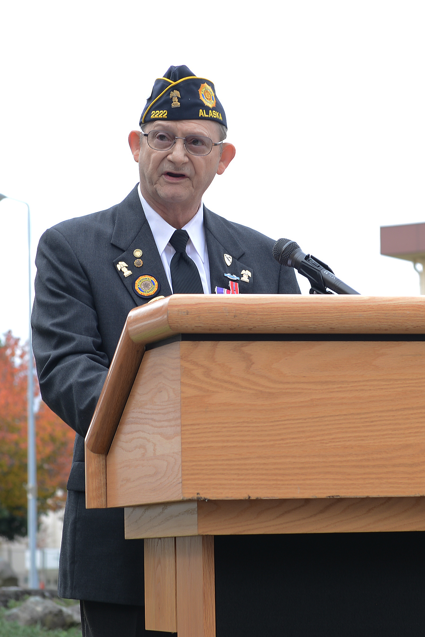John Pierce, American Legion commander, presides over a Veterans Day ceremony at Yokota Air Base, Japan, Nov. 11, 2015. The American Legion is the nation's largest wartime veterans service organization. (U.S. Air Force photo by Senior Airman David C. Danford/Released)