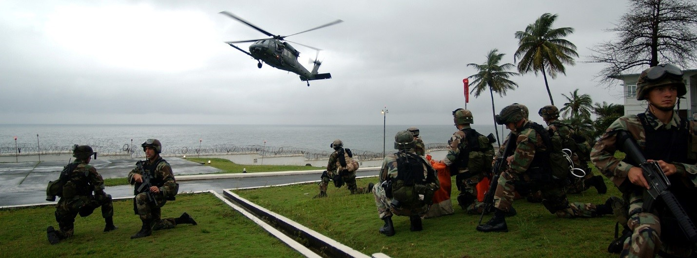 HH-60G arrives at US Embassy in Liberia to evacuate civilian personnel.  The 398th Air Expeditionary Group was based out of Sierra Leone to provide personnel recovery and emergency evacuation capability for the humanitarian assistance survey team in Liberia. (U.S. Air Force photo/Tech. Sgt. Justin D. Pyle)