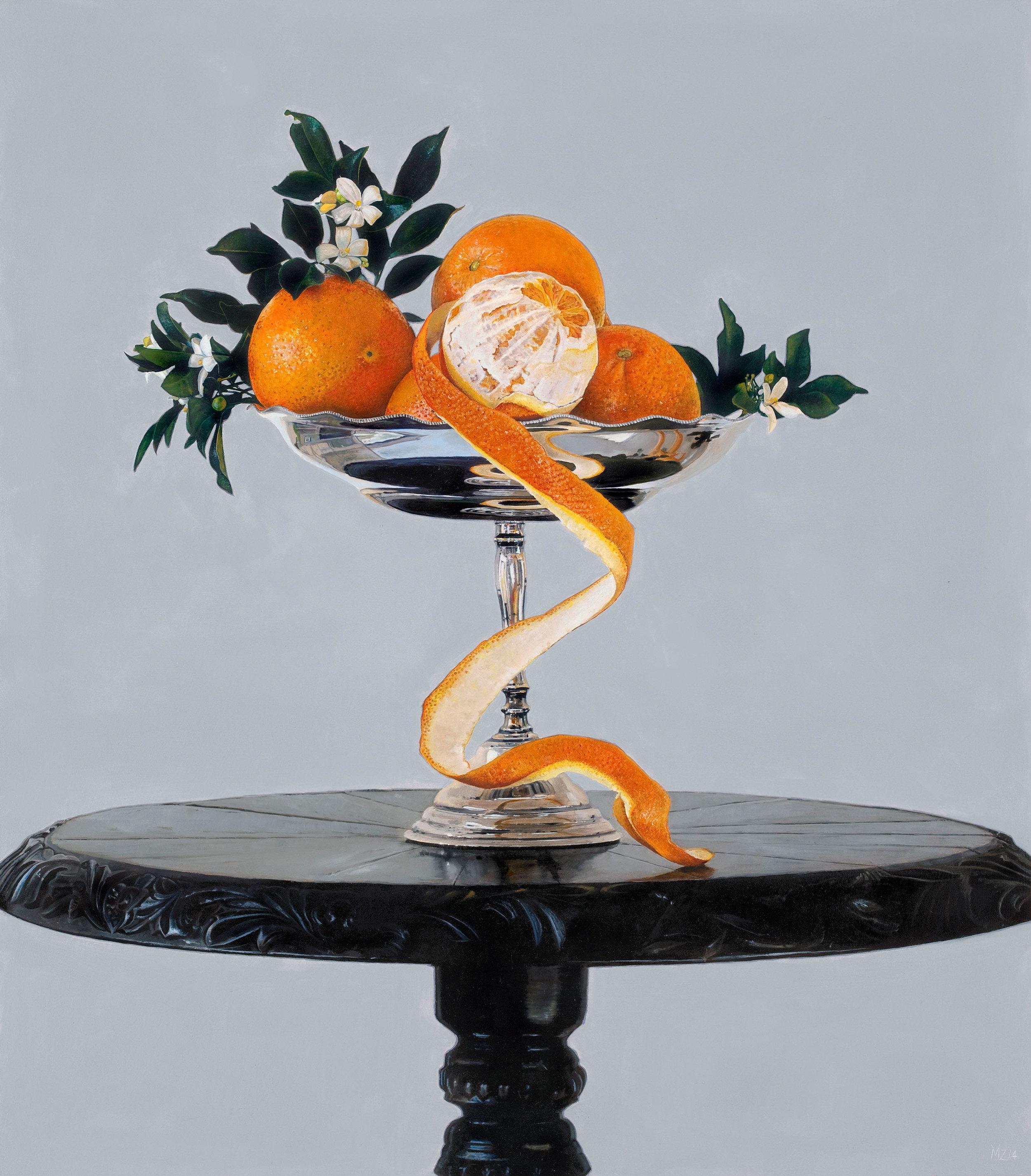 Michael Zavros,  Mock Orange , 2014, oil on board, 400 x 350 mm