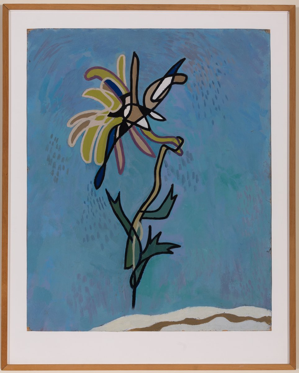 Gordon Walters,  Chrysanthemum , 1944, oil on card, 47 x 522mm, courtesy of the Walters Estate