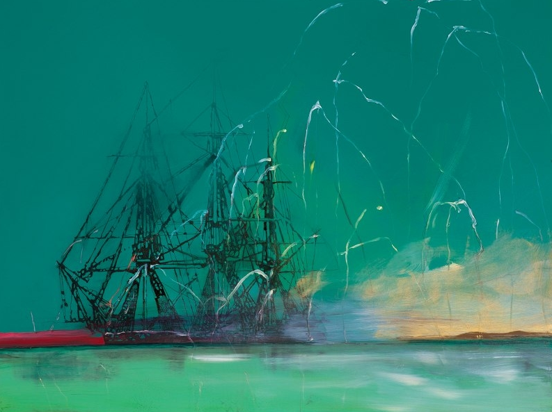 Whitney Bedford, Untitled Shipwreck (Rocked), 2010, ink and oil on board, 72 x 94 cm. Photo: Evan Bedford