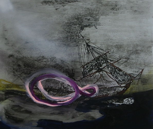 Whitney Bedford,  Untitled Shipwreck (the not/knot) , 2010, ink and oil on panel, 45 x 56 cm. Photo: Evan Bedford
