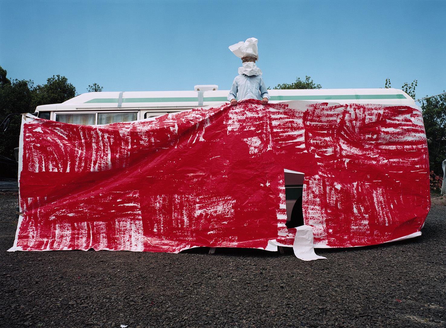 Red Dress, 2002, colour photograph, 850 x 1200mm (in collaboration with Karen Walker).
