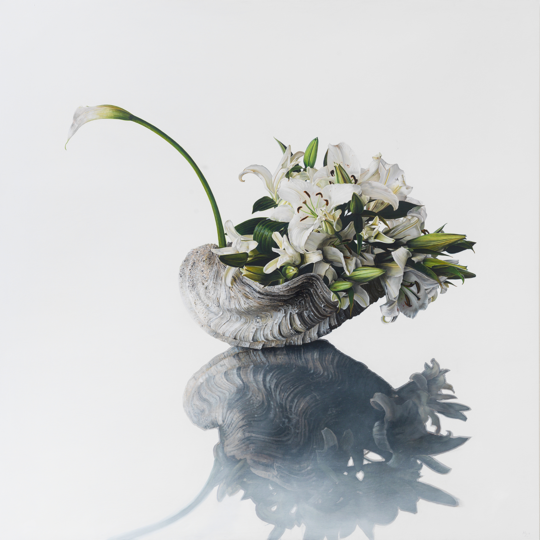 Michael Zavros,  The Swan , 2015, oil on panel, 1200 x 1200 mm