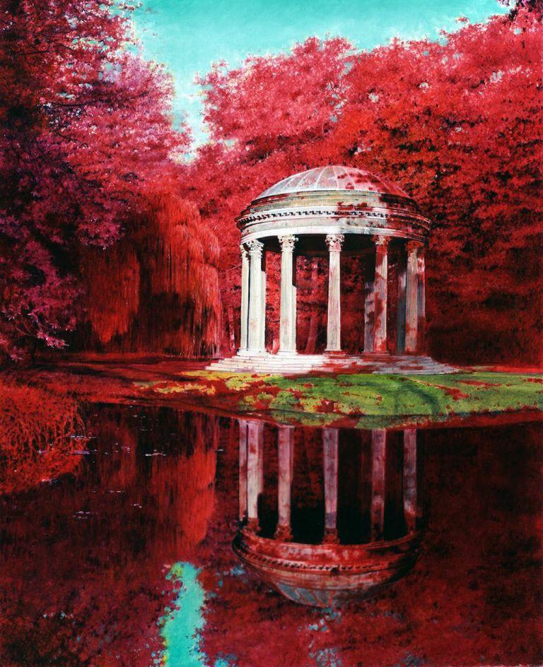 Michael Zavros,  Loves Temple , 2006, oil on board, 185 x 150 mm