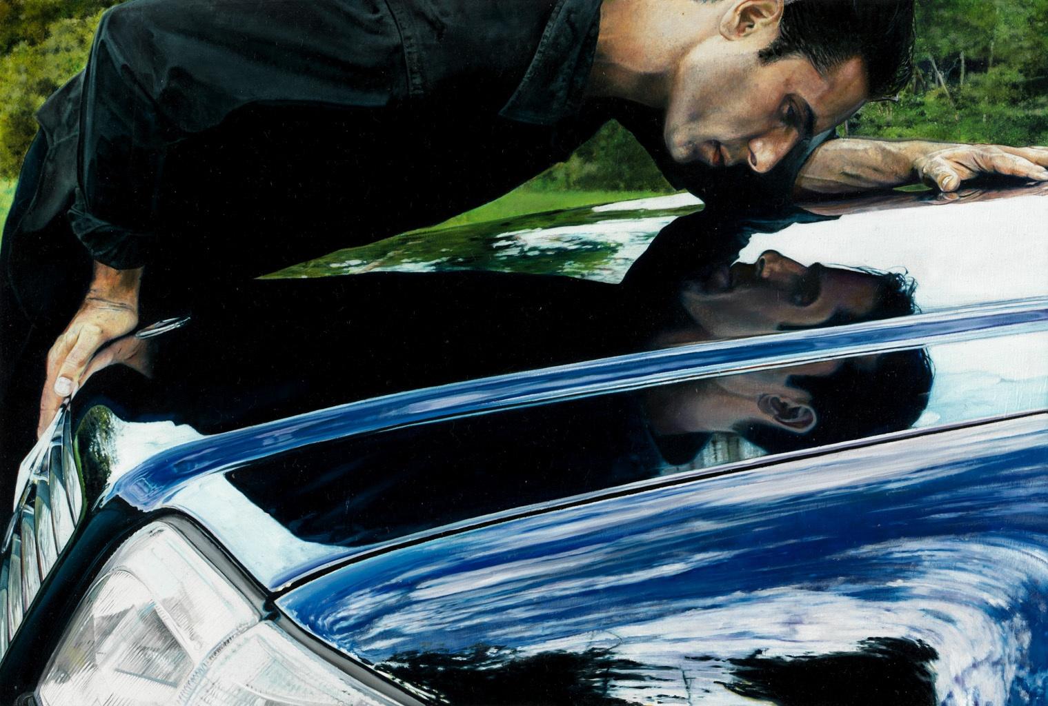 Michael Zavros,  V12 Narcissus , 2009, oil on board, 200 x 290 mm