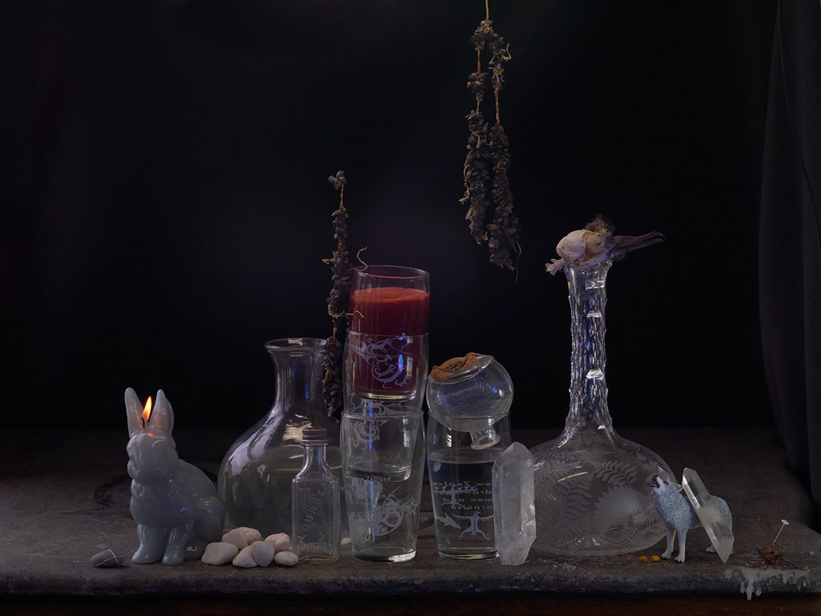 Still life with Mussel Spat, My Name Sigil, Crystals and Wolf Moon Holy Water, Ripiro 2013