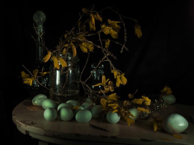 StillLife with Kowhai and Aracana Eggs2011.jpeg