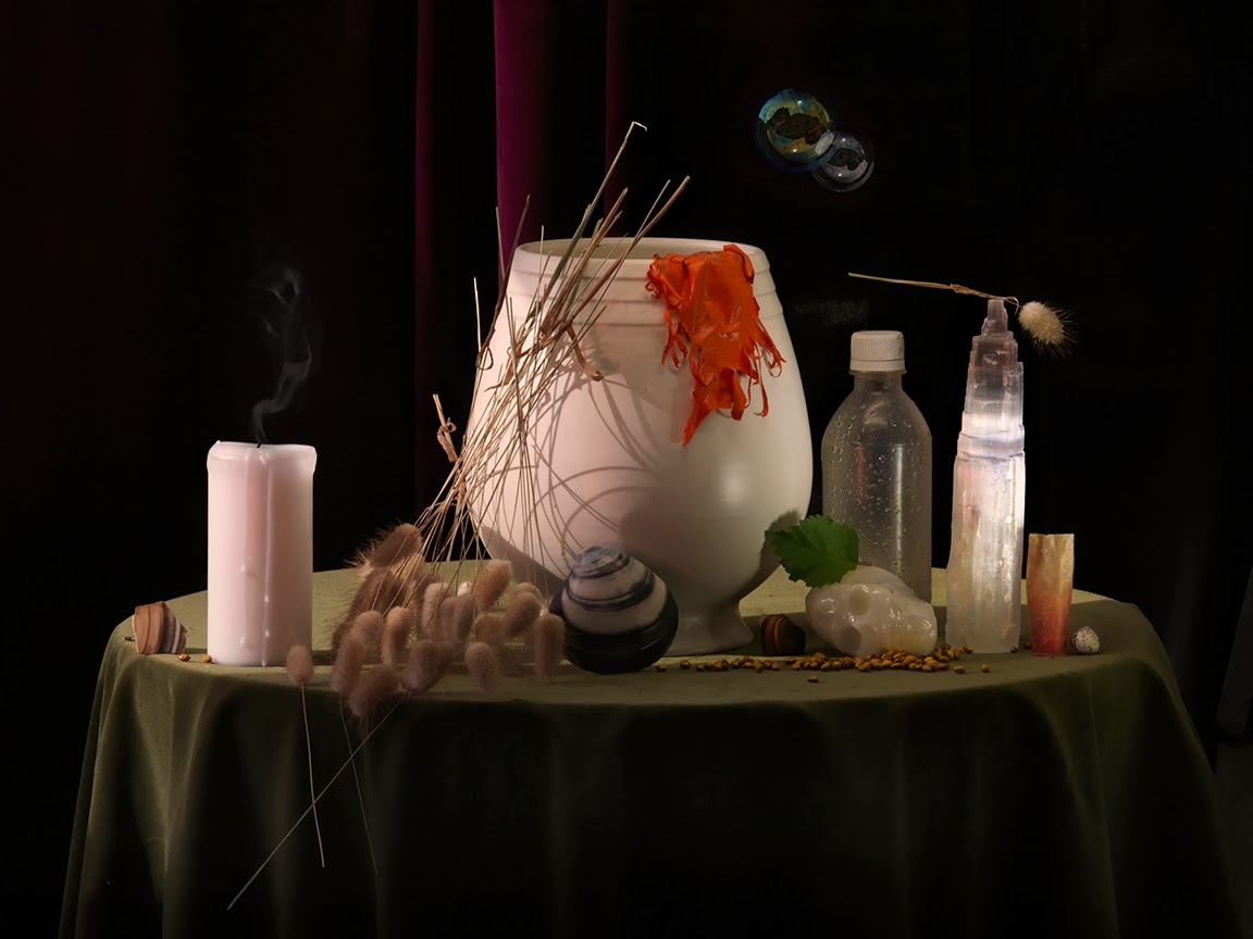 Still Life with Burst Balloon, Snuffed Candle and Calcite, Ripiro 2013