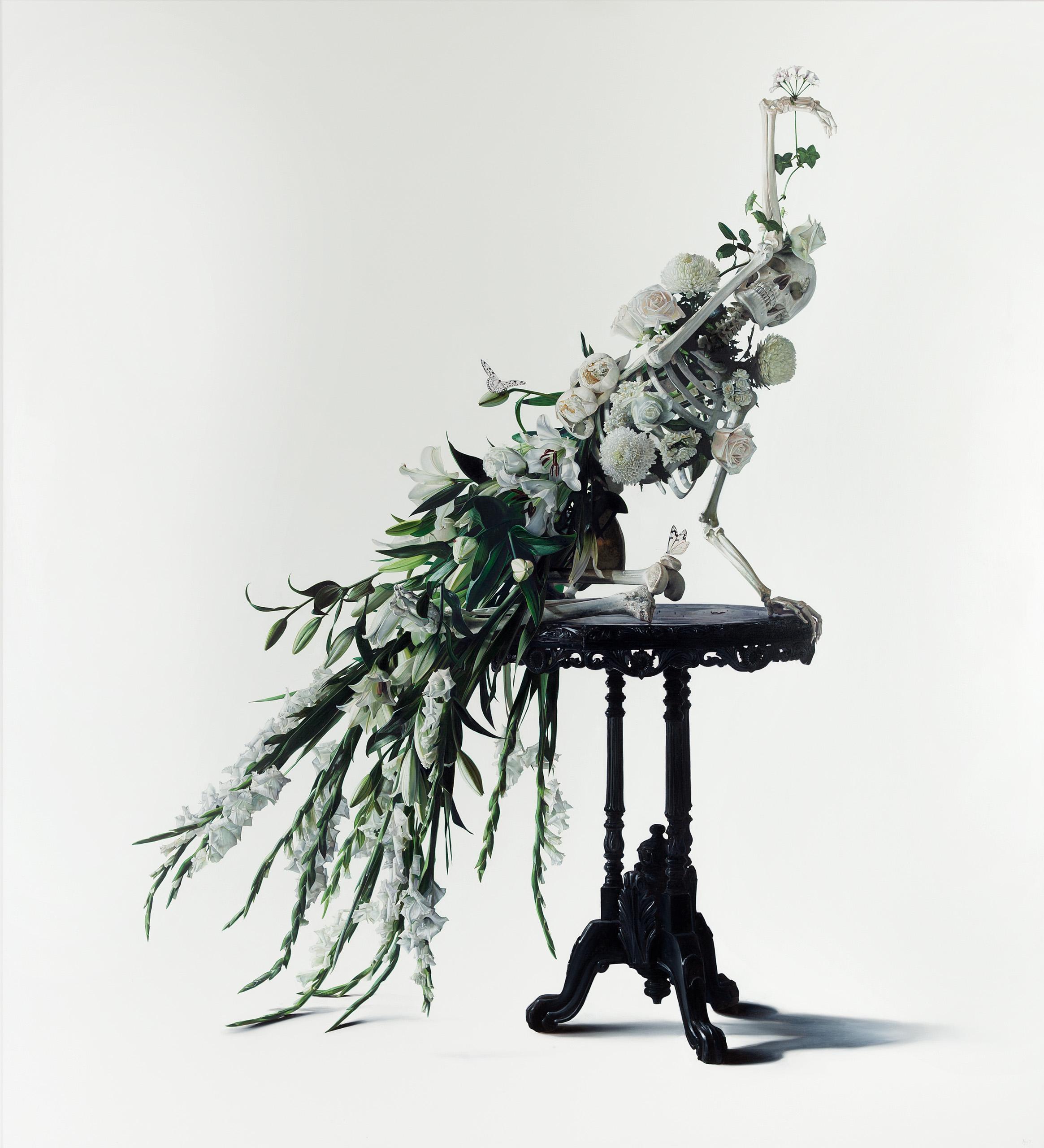 Michael Zavros,  White Peacock , 2017, oil on canvas, 2200 x 2000 mm