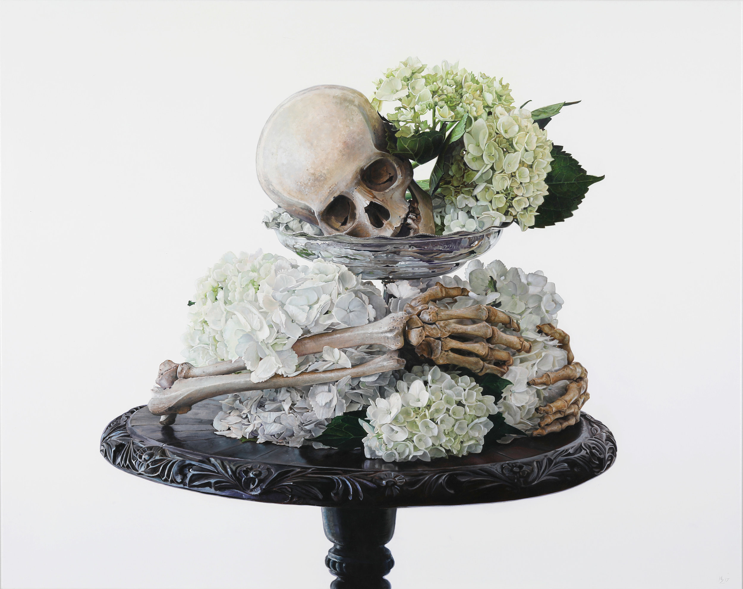 Michael Zavros,  Skull with Hydrangea , 2107, oil on canvas, 800 x 1000 mm