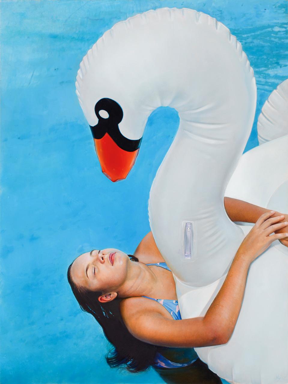 Michael Zavros,  Phoebe is 11/Swan,  oil on board, 305 x 405 mm