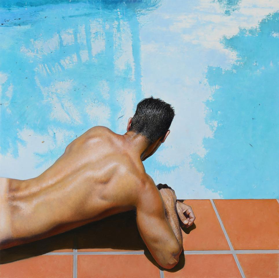 Michael Zavros, Narcissus, 2018, oil on board, 3035 x 305 mm