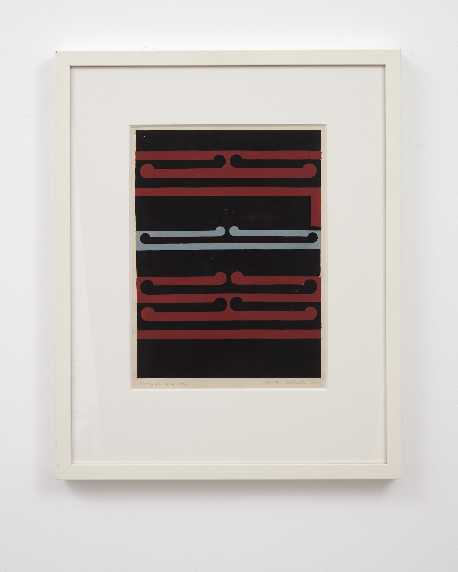 Gordon Walters,  Study for No.2/Tirangi , 1979, acrylic on canvas, 250 x 200 mm (image size), courtesy of the Walters Estate