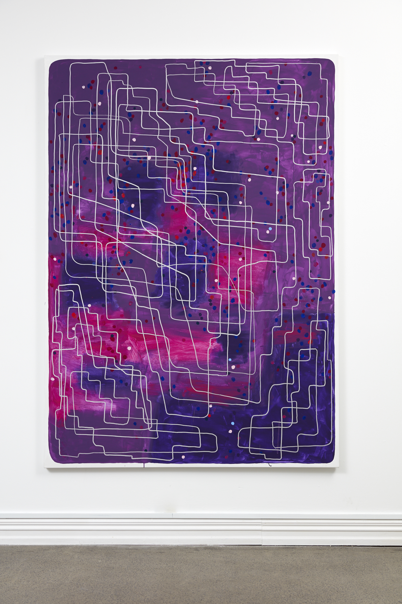 John Reynolds,  Headmap Footage #1 , oil paint marker and acrylic on canvas, 2130 x 1570 mm