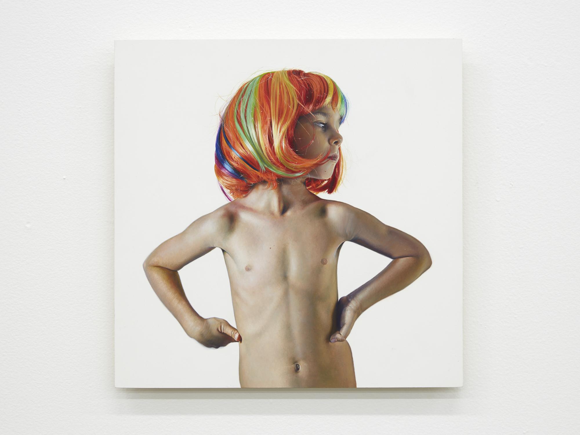 Michael Zavros,  Leo is Six , 2017, oil on board, 300 x 300 mm
