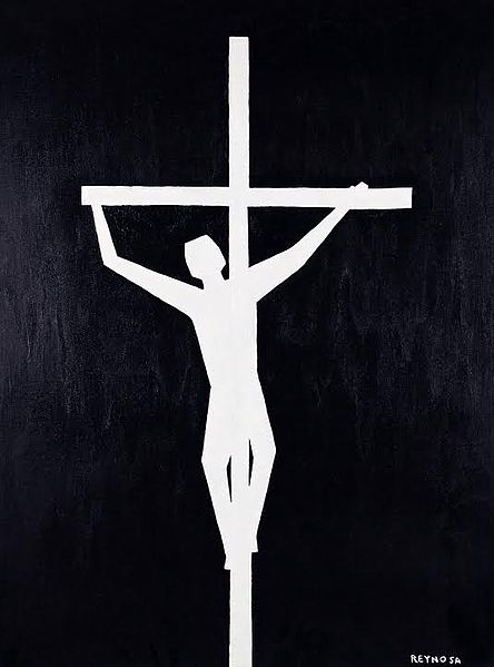 "Peter Reynosa, ""Crucifixion in Black and White"""