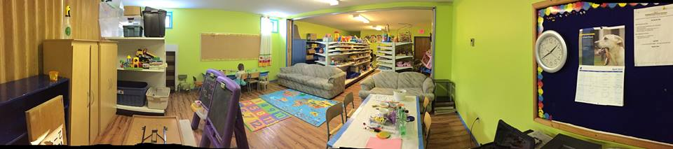 The toy library set up for grand re-opening day