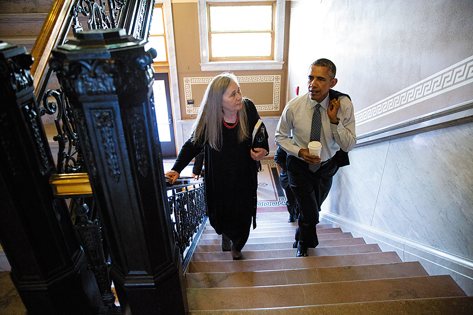 Marilynne Robinson with Barack Obama from the article linked below.