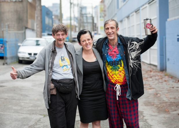 Harvey Clause (left), DJ Larkin of the Pivot Legal Society (middle) and Doug Smith following a B.C. Supreme Court decision that ruled people are allowed to sleep in public spaces during the night but must leave in the morning (Vancouver Sun article linked below).