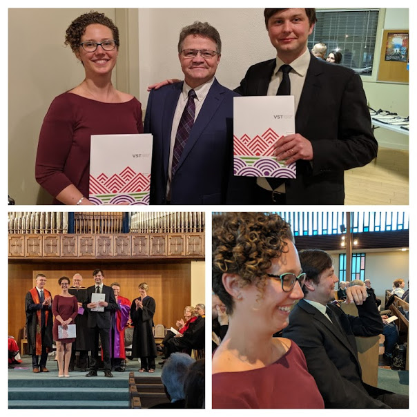 Rev. Ingrid and Rev. Ryan receiving the inaugural  T.E.G. award  at the Vancouver School of Theology Convocation ceremony Monday, along with Principal Richard Topping.