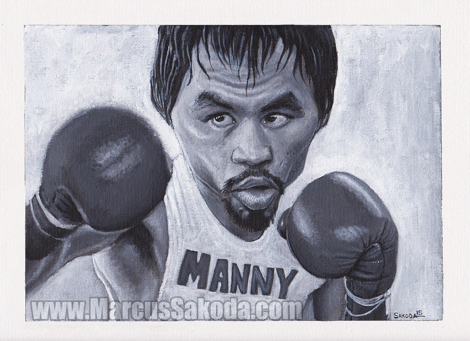 Manny Pacquiao 9x12in Acrylic on Canvas
