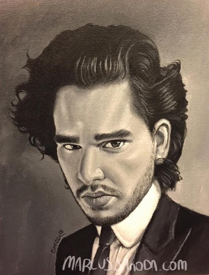 Kit Harrington aka John Snow from Game of Thrones, 8x10in acrylic on canvas