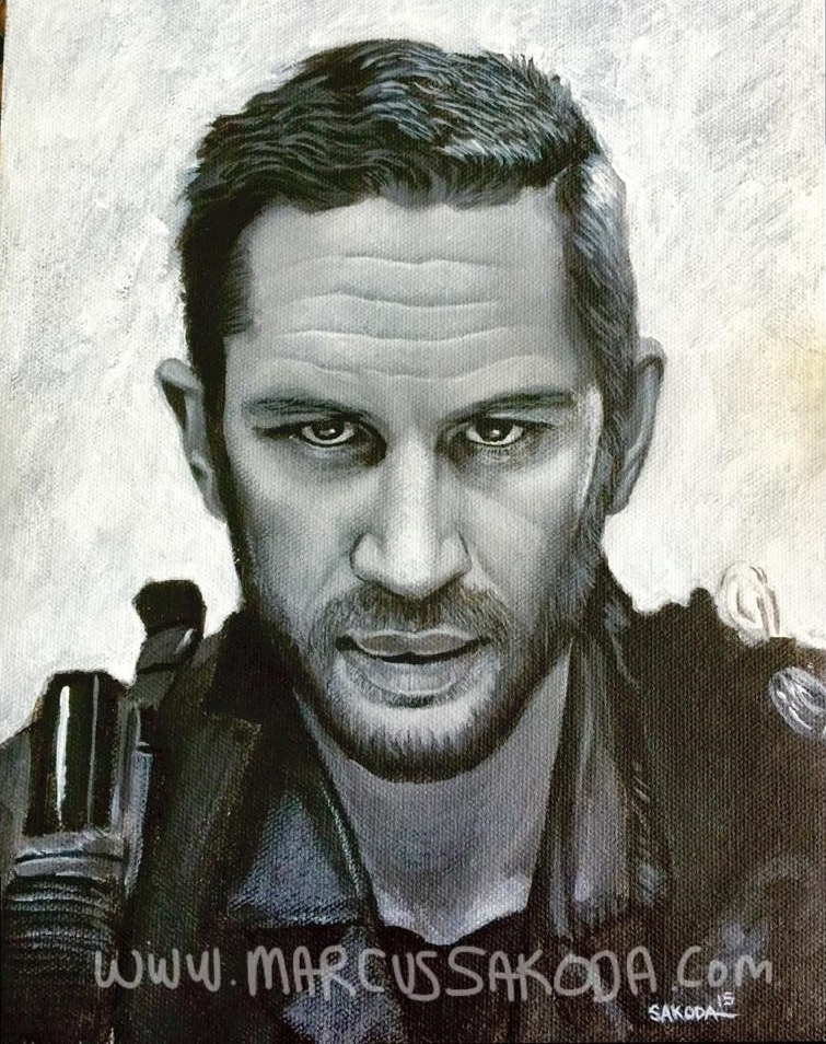 Tom Hardy as Mad Max, 8x10in Acrylic on Canvas