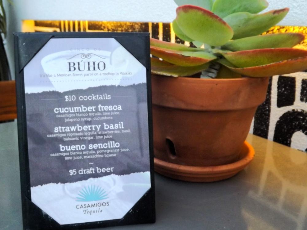 Buho Cantina's Cinco de Buho drink menu // TheEditHawaii.com