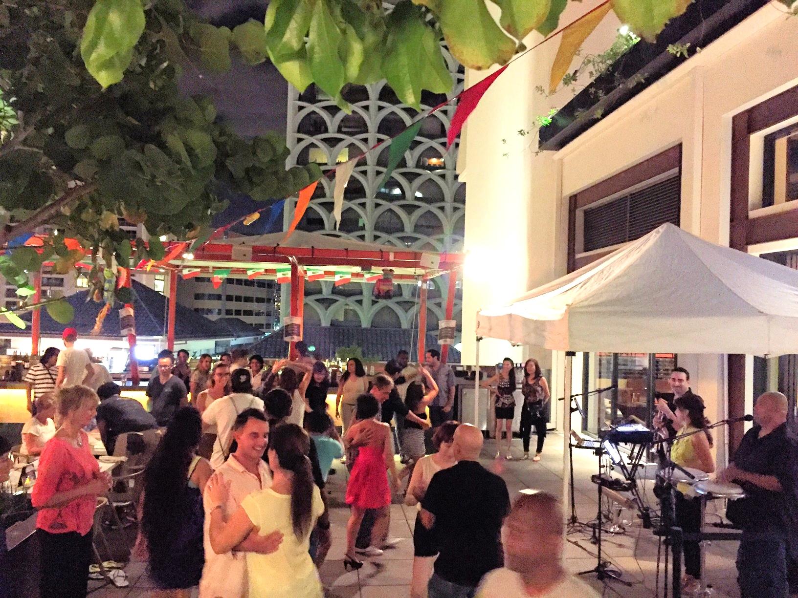 Salsa dancing at Buho Cantina, Waikiki's only rooftop bar // TheEditHawaii.com