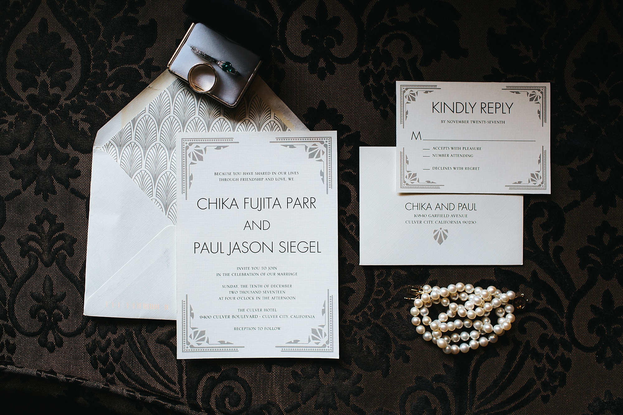wedding invitation suite flat lay